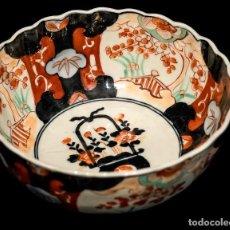 Antigüedades: PRECIOSO CUENCO, EN PORCELANA JAPONESA ANTIGUA, DE IMARI, PINTADO A MANO. Lote 144534430
