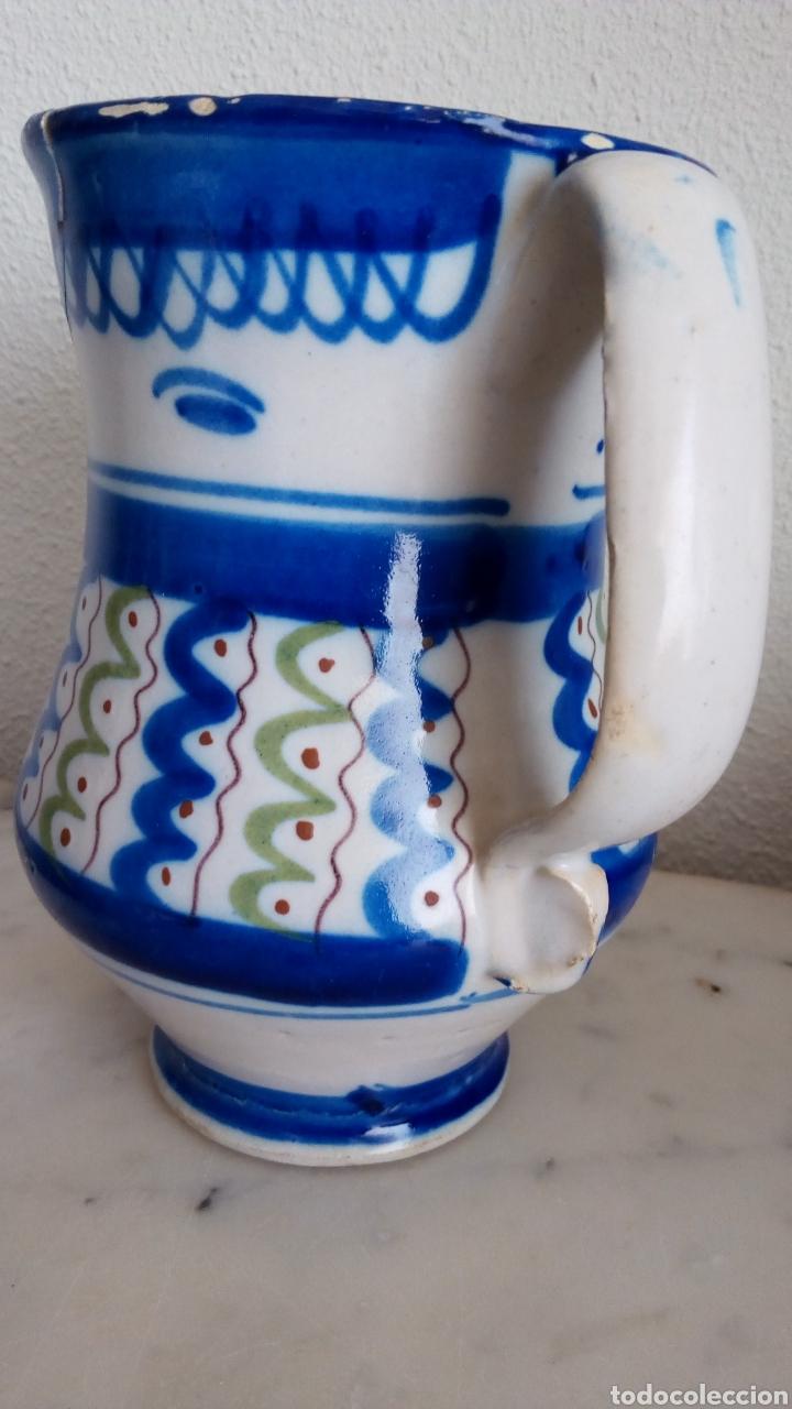 Antigüedades: Jarra cerámica levantina. Siglo XIX. Esmaltada. Firmada - Foto 2 - 144548684