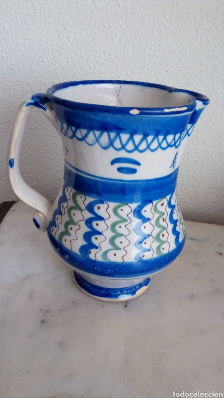 Antigüedades: Jarra cerámica levantina. Siglo XIX. Esmaltada. Firmada - Foto 3 - 144548684