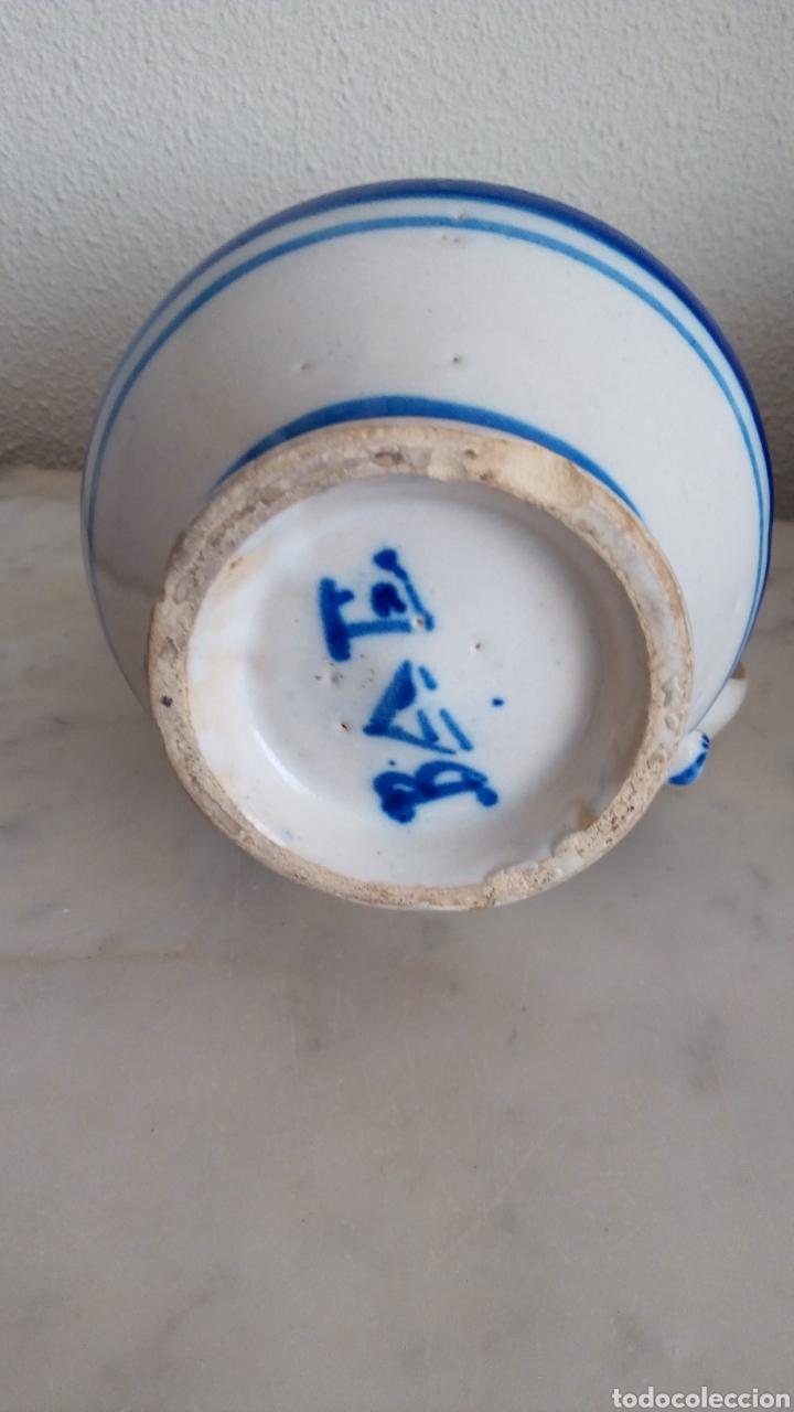 Antigüedades: Jarra cerámica levantina. Siglo XIX. Esmaltada. Firmada - Foto 4 - 144548684