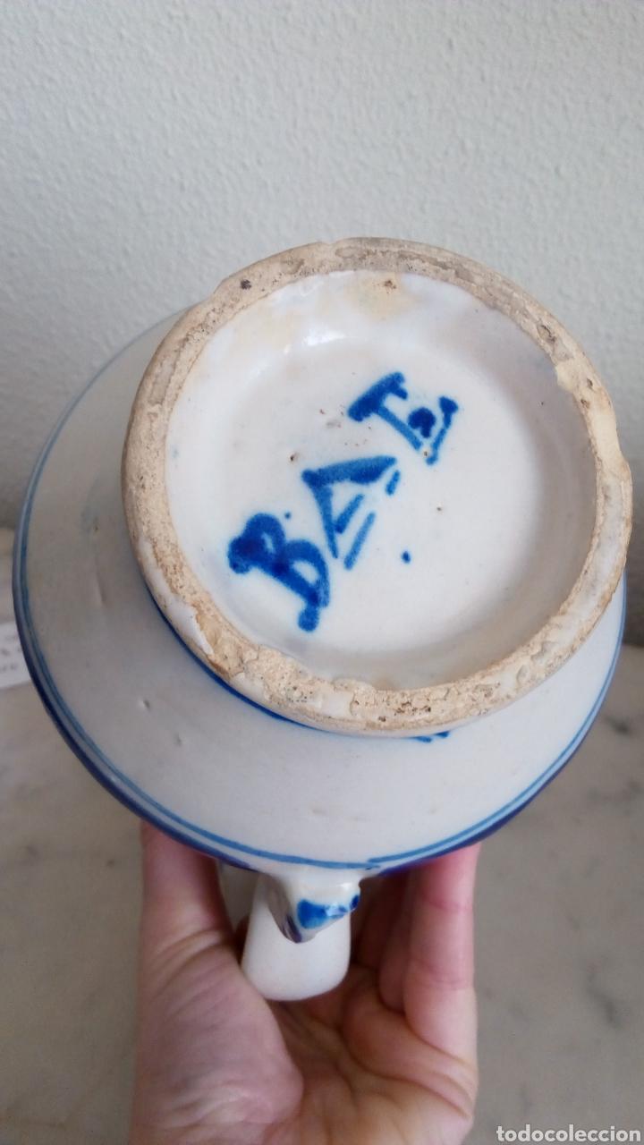Antigüedades: Jarra cerámica levantina. Siglo XIX. Esmaltada. Firmada - Foto 6 - 144548684