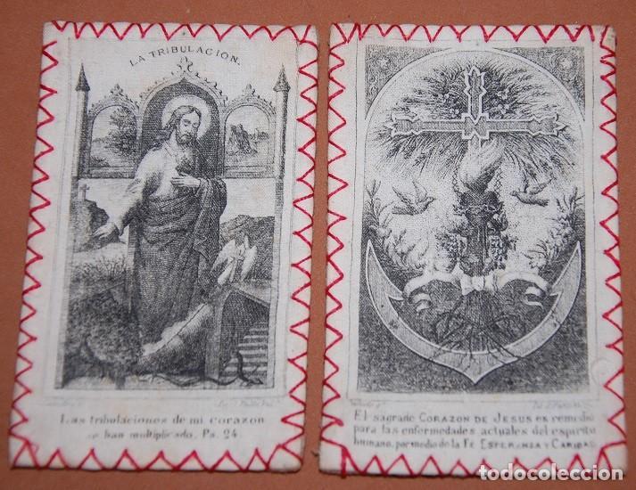 ESCAPULARIO DEL SIGLO XIX SAGRADO CORAZON DE JESUS (Antigüedades - Religiosas - Escapularios Antiguos)