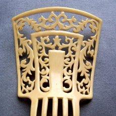 Antigüedades: PEINETA DE PELO GRANDE EN IMITACIÓN MARFIL C 1920S. Lote 144553010