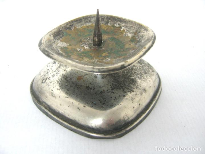 ANTIGUO CANDELABRO HACHERO METAL PLATEADO - ALEMAN WMF (Antigüedades - Iluminación - Candelabros Antiguos)
