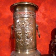 Antigüedades: PARAGUERO BRONCE O LATÓN CON REYES CATÓLICOS. Lote 144584326