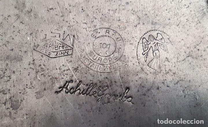 Antigüedades: BANDEJA MODERNISTA DE ESTAÑO, MARCA ACHILLE GAMBA - Foto 4 - 144593918