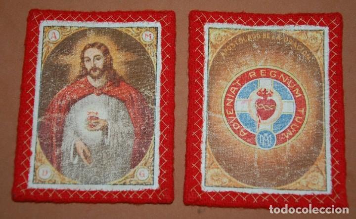 ESCAPULARIO DEL SIGLO XIX CORAZON DE JESUS APOSTOLADO DE LA ORACION-A (Antigüedades - Religiosas - Escapularios Antiguos)