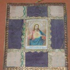 Antigüedades: DETENTE ARTESANAL DEL SAGRADO CORAZON DE JESUS SIGLO XIX. Lote 144616450