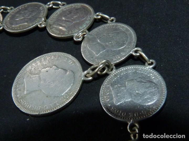 Antigüedades: Bella pulsera moneda 50 centimos 1 pesetaplata Alfonso XIII 1904 1910 coleccion principios XX - Foto 3 - 144624494