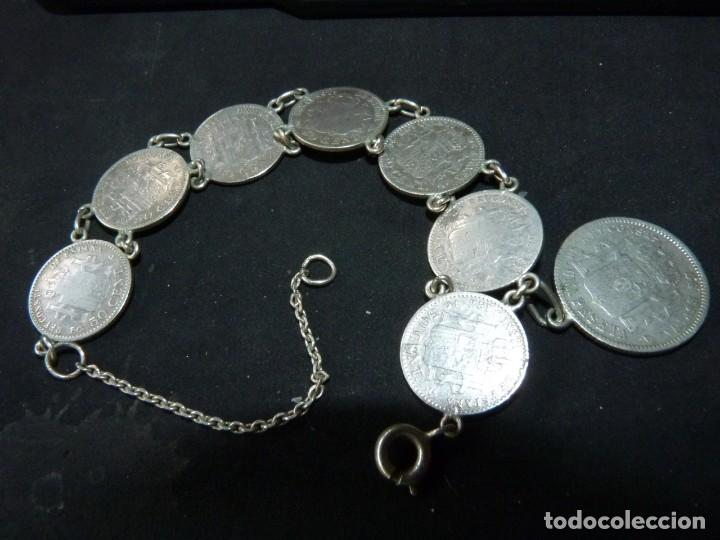 Antigüedades: Bella pulsera moneda 50 centimos 1 pesetaplata Alfonso XIII 1904 1910 coleccion principios XX - Foto 5 - 144624494