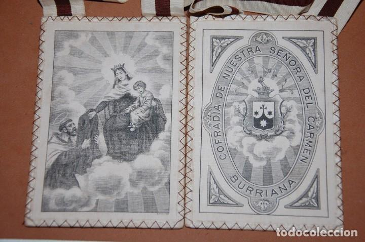 ESCAPULARIO VIRGEN DEL CARMEN SIGLO XX SIMON STOCK RECIBIENDO LA CASULLA/BURRIANA (Antigüedades - Religiosas - Escapularios Antiguos)