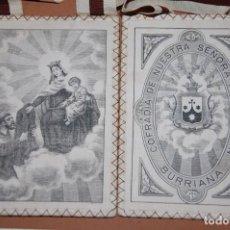 Antigüedades: ESCAPULARIO VIRGEN DEL CARMEN SIGLO XX SIMON STOCK RECIBIENDO LA CASULLA/BURRIANA. Lote 195223866