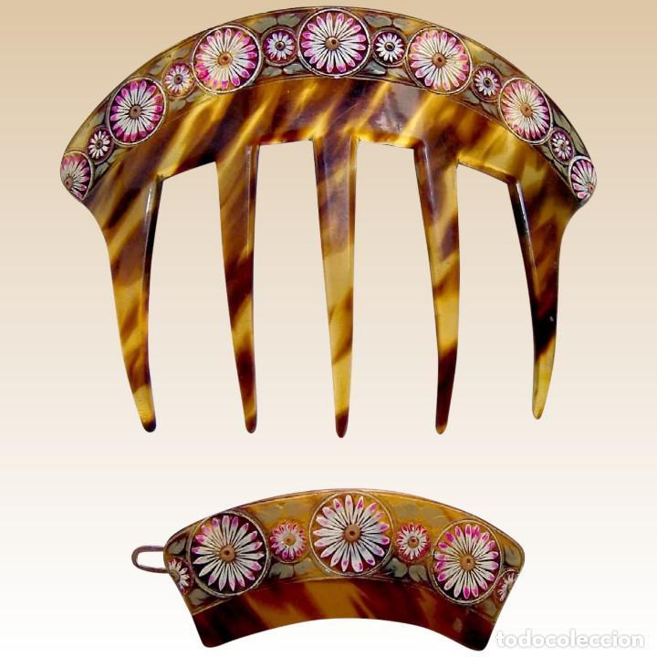 Antigüedades: Conjunto de peineta y pasador de pelo de imitación de carey - Foto 2 - 144630342