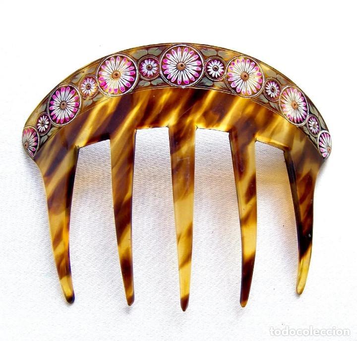 Antigüedades: Conjunto de peineta y pasador de pelo de imitación de carey - Foto 6 - 144630342