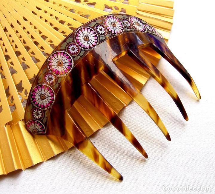 Antigüedades: Conjunto de peineta y pasador de pelo de imitación de carey - Foto 8 - 144630342