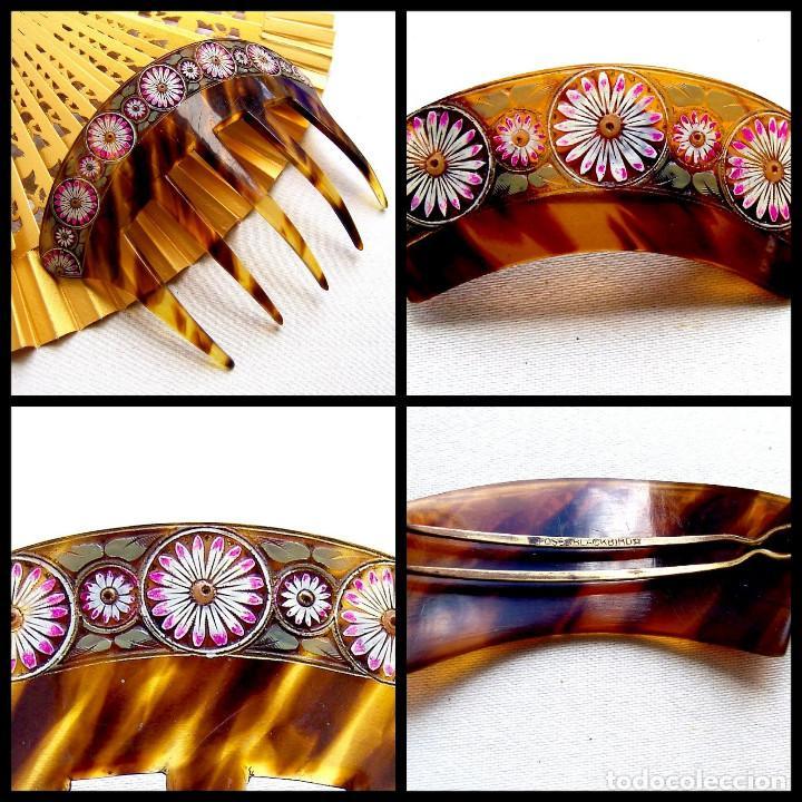 Antigüedades: Conjunto de peineta y pasador de pelo de imitación de carey - Foto 10 - 144630342