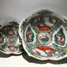 Antigüedades: PAREJA DE CUENCOS DE PORCELANA CHINA.. Lote 144662230