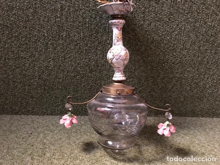 LAMPARA TECHO PORCELANA CRISTAL Y BRONCE (Antigüedades - Iluminación - Lámparas Antiguas)