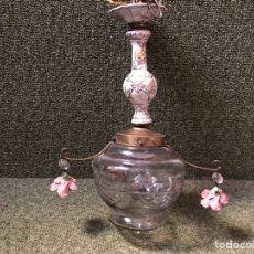 Antigüedades: LAMPARA TECHO PORCELANA CRISTAL Y BRONCE. Lote 144708414