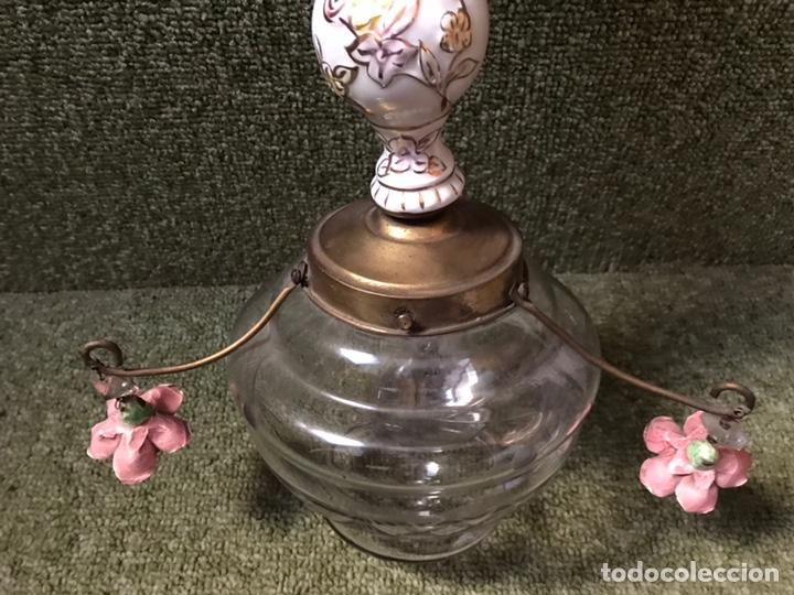 Antigüedades: LAMPARA TECHO PORCELANA CRISTAL Y BRONCE - Foto 2 - 144708414