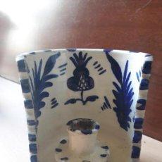 Antigüedades: ANTIGUO PORTAVELAS PALMATORIA- CERÁMICA FAJALAUZA GRANADA- CON ASA. Lote 144732382