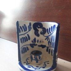 Antigüedades: ANTIGUO PORTAVELAS PALMATORIA- CERAMICA FAJALAUZA GRANADA- CON ASA. Lote 144732586