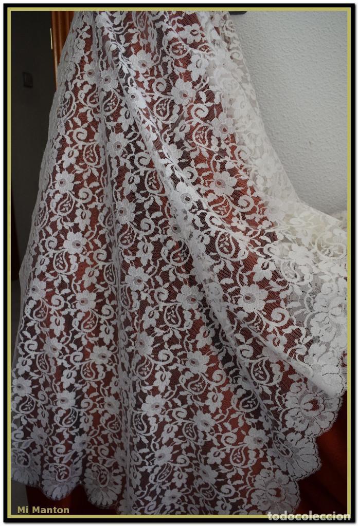 MANTILLA BLANCA TIPO BLONDA 120 CM X 200 CM (Antigüedades - Moda - Mantillas)