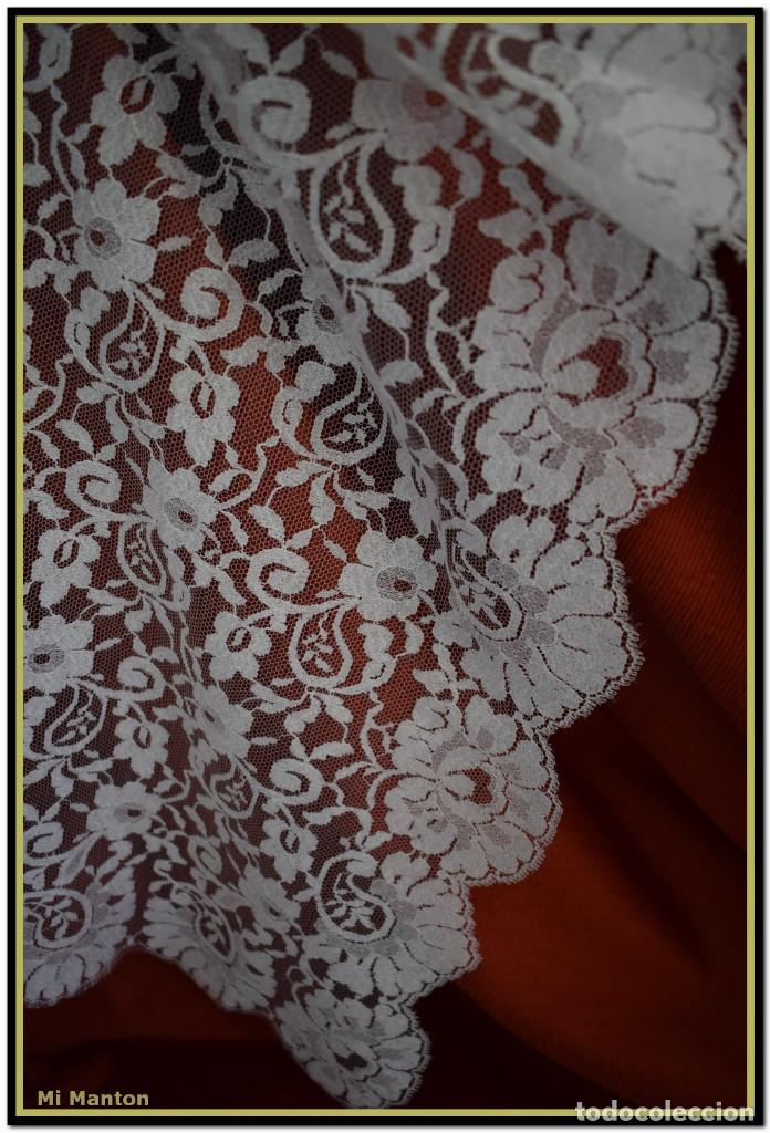 Antigüedades: Mantilla blanca tipo blonda 120 cm x 200 cm - Foto 2 - 144887034