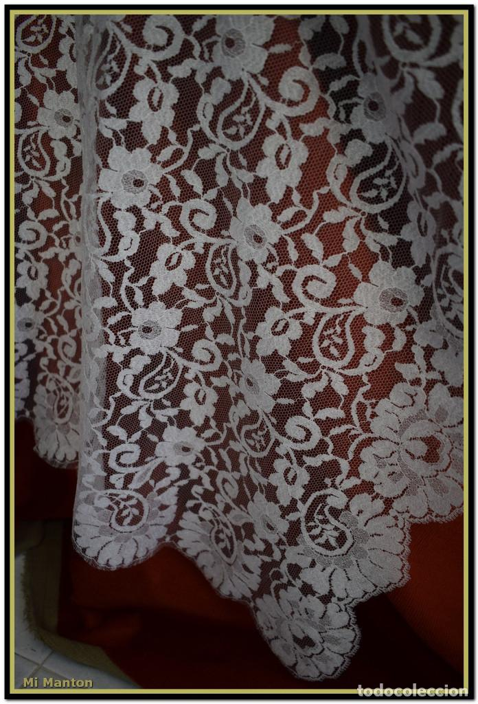 Antigüedades: Mantilla blanca tipo blonda 120 cm x 200 cm - Foto 4 - 144887034