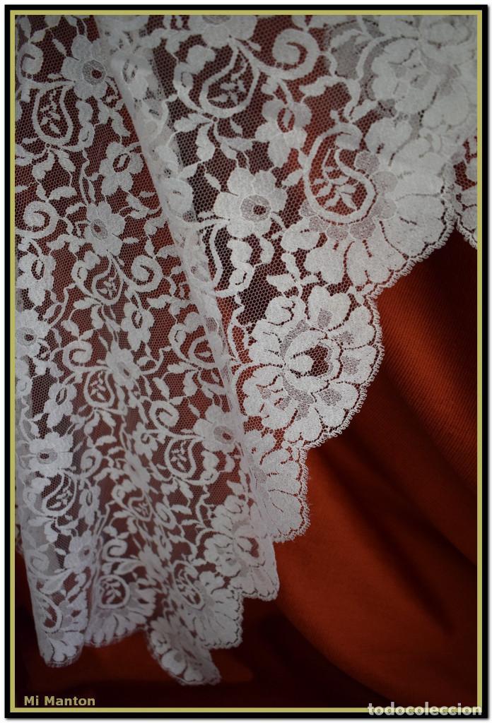 Antigüedades: Mantilla blanca tipo blonda 120 cm x 200 cm - Foto 6 - 144887034