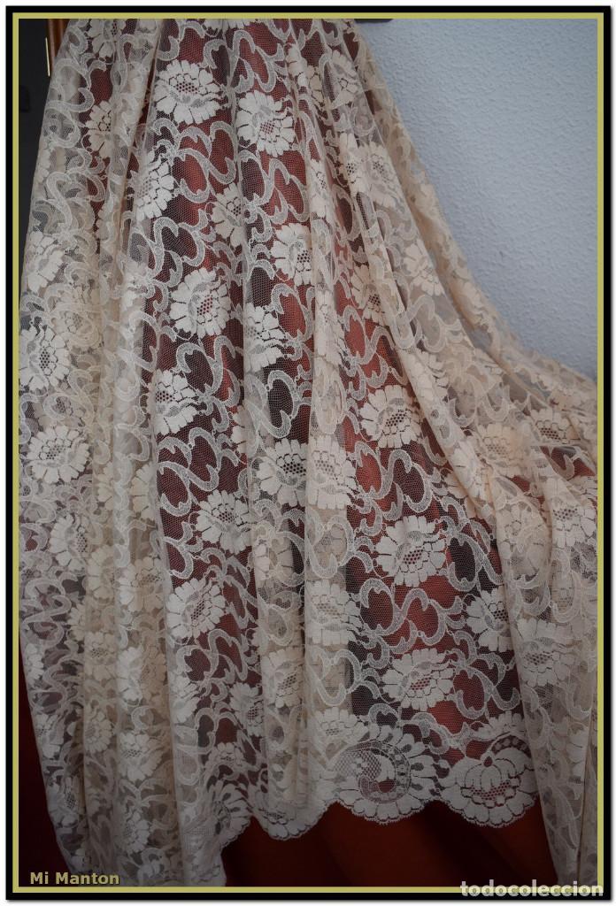 MANTILLA BEIGE TONO NUDE TIPO BLONDA 120 CM X 220 CM (Antigüedades - Moda - Mantillas)