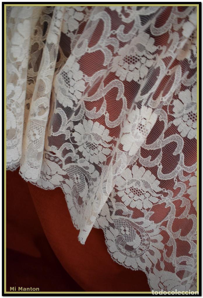 Antigüedades: Mantilla beige tono nude tipo blonda 120 cm x 220 cm - Foto 2 - 144887298