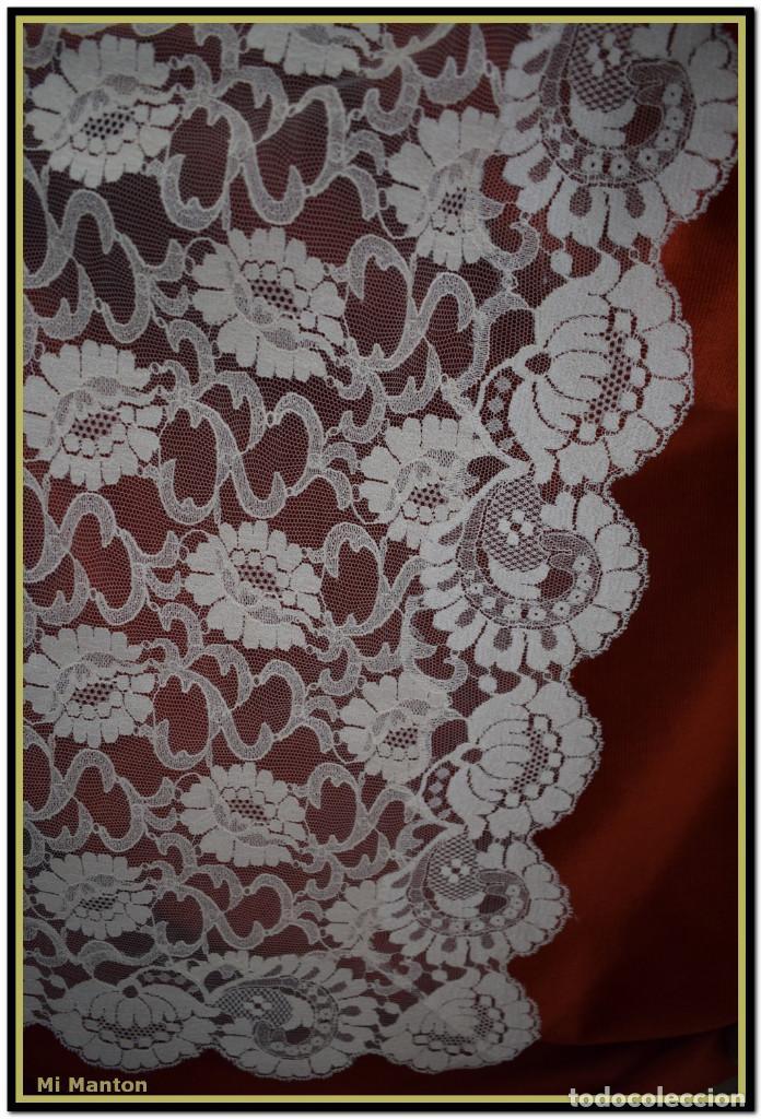 Antigüedades: Mantilla beige tono nude tipo blonda 120 cm x 220 cm - Foto 3 - 144887298