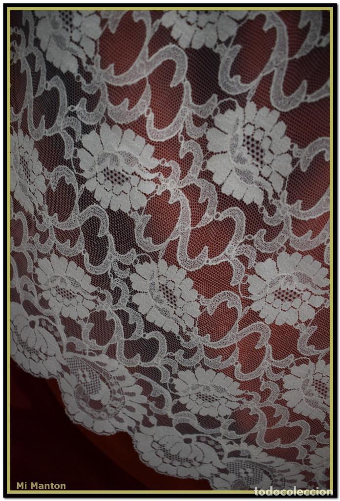 Antigüedades: Mantilla beige tono nude tipo blonda 120 cm x 220 cm - Foto 4 - 144887298