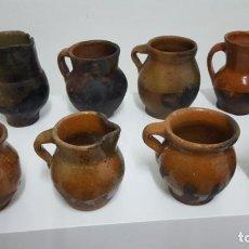 Antigüedades: PUCHEROS Y JARRA. CERÁMICA ESPAÑOLA EXTINGUIDA.. Lote 144894958