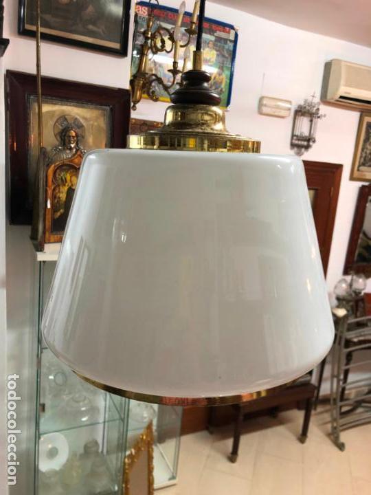 Antigüedades: GRAN LAMPARA DE CONTRAPESO CON TULIPA DE CRISTAL - Foto 6 - 144904798