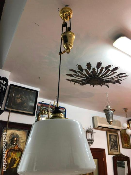 Antigüedades: GRAN LAMPARA DE CONTRAPESO CON TULIPA DE CRISTAL - Foto 7 - 144904798