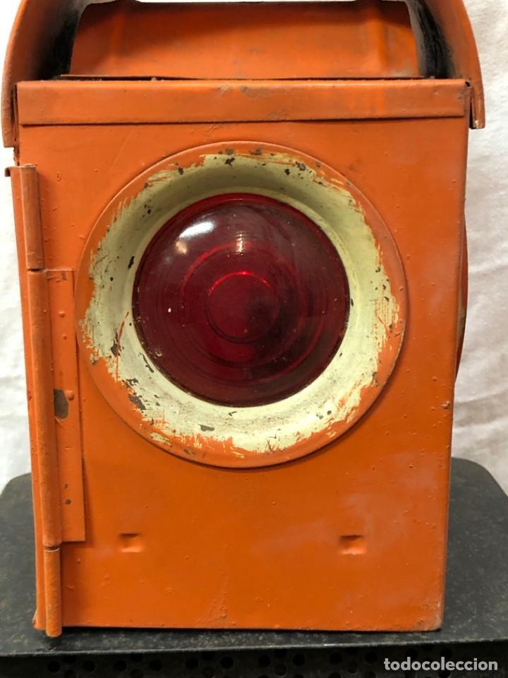 Antigüedades: Antiguo Farol Lampara o linterna Ferroviario de Aceite - Auténtico Muy Buen Estado - Foto 4 - 144911162