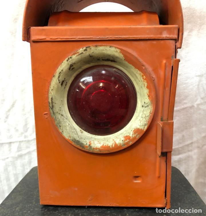Antigüedades: Antiguo Farol Lampara o linterna Ferroviario de Aceite - Auténtico Muy Buen Estado - Foto 9 - 144911162