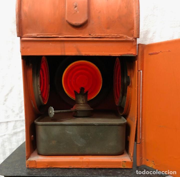 Antigüedades: Antiguo Farol Lampara o linterna Ferroviario de Aceite - Auténtico Muy Buen Estado - Foto 14 - 144911162