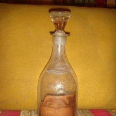 Antigüedades: BOTELLA ANTIGUA DE FARMACIA DE VIDRIO BLANCO, TAPON MACIZO Y 22,5CM. DE ALTO.. Lote 144938070