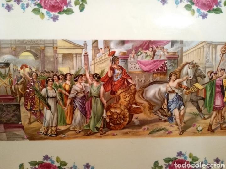 Antigüedades: Bandeja Cartuja Decoración Escena Clásica y Dorados - Foto 5 - 144993004