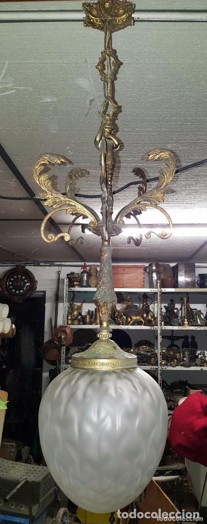 Antigüedades: LAMPARA MODERNISTA GLOBO CRISTAL Y BRONCE - Foto 2 - 145014790