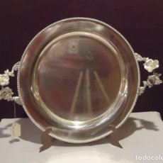 Antigüedades: BANDEJA FLOR REDONDA BAÑADA EN PLATA MED 45 X 35 CTM. Lote 145118634