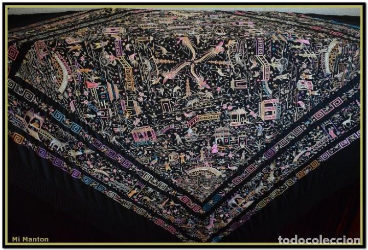 Antigüedades: Mi Manton. Manton de Manila antiguo. raro cantones de chinos tonos rosaceos, azules, y lila - Foto 7 - 145132718