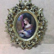 Antigüedades: PLACA DE PORCELANA ALEMANA REPRESENTANDO A SANTA CECILIA DE CARLO DOLCI. Lote 145148326