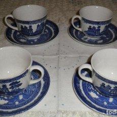 Antigüedades: JUEGO CUATRO TAZAS Y PLATOS DE TEA DE PORCELANA INGLESA. Lote 145208834