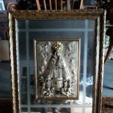 Antigüedades: CUADRO VIRGEN DE GUADALUPE PLATA 925 CON SELLO CRISTAL TALLADO MARCO MADERA. Lote 145212802
