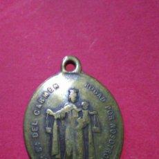 Antigüedades: ANTIGUA MEDALLA DE LA VIRGEN DEL CARMEN Y SAN ANTONIO DE PADUA. 2,7 X 2 CM.. Lote 145228982