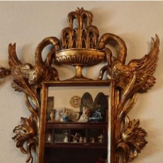 Antigüedades: ANTIGUO GRAN ESPEJO CORNUCOPIA MADERA TALLADA. Lote 145248394